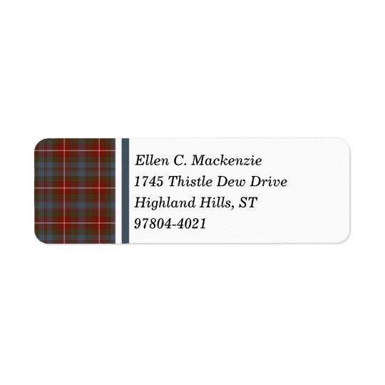 Fraser de tartan écossais patiné rouge foncé de étiquette d'adresse retour