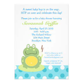 Freddy l invitation du baby shower 5x7 de grenouil