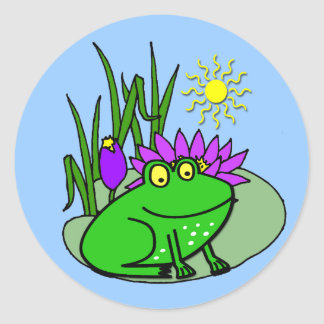 Freddy la grenouille - sur un autocollant mignon