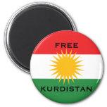 FREE  KURDISTAN MAGNET ROND 8 CM