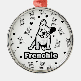 Frenchie Ornement Rond Argenté