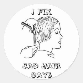 Frénésie de styliste en coiffure autocollants ronds