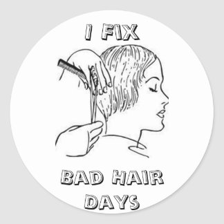 Frénésie de styliste en coiffure sticker rond