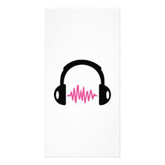 Fréquence d'écouteurs cartes de vœux avec photo