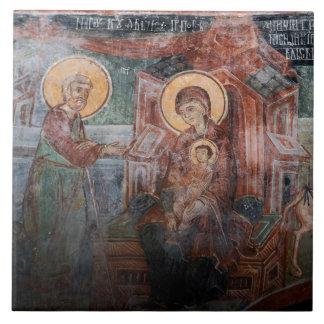 Fresques de l'église serbe du 14ème siècle, 2 grand carreau carré