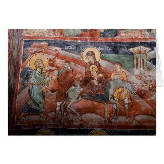 Fresques de l'église serbe du 14ème siècle, carte de vœux