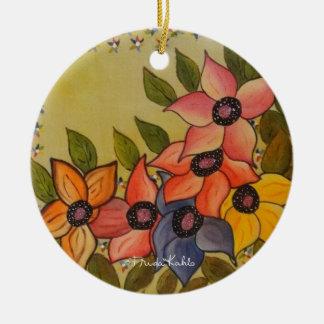 Frida Kahlo a peint Flores Ornement Rond En Céramique