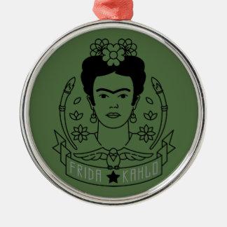 Frida Kahlo | Heroína Ornement Rond Argenté