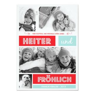 Fröhlich und Frohen Weihnachten Carton D'invitation 12,7 Cm X 17,78 Cm