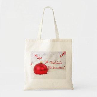 Frohliche rouge et blanc Weihnachten de Noël Sac Fourre-tout