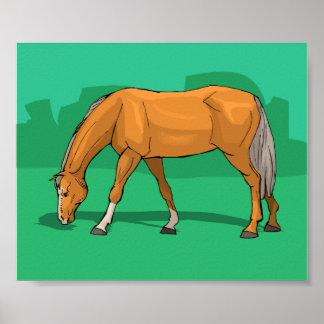 Frôlant le thème de cheval de palomino équin poster