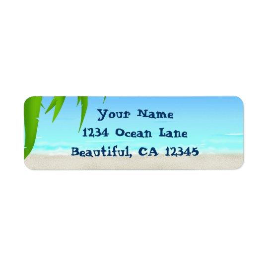 Frondes de plage, d'océan et de palmier étiquette d'adresse retour