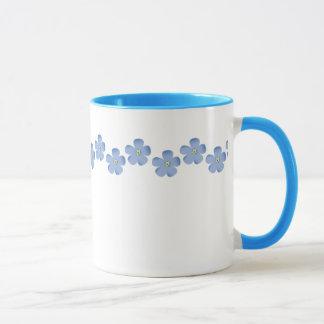 Frontière bleue de fleur mug