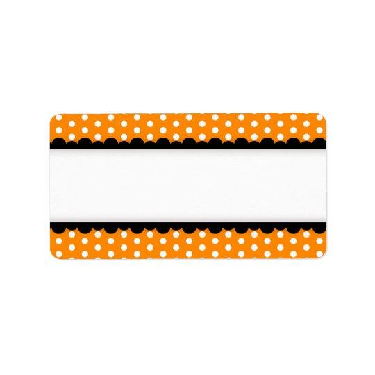 Frontière crantée par noir orange de pois de étiquette d'adresse