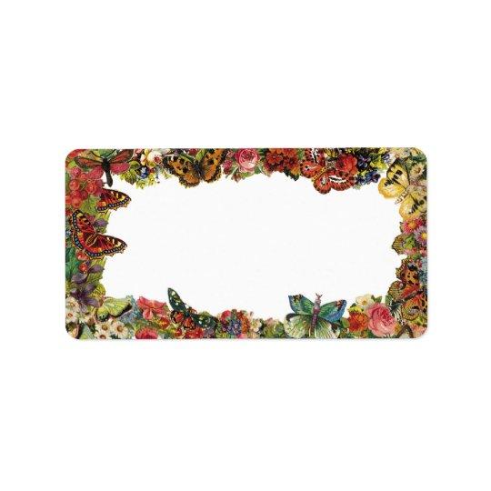 Frontière de cru de papillons et de fleurs étiquette d'adresse