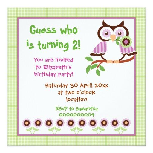 Frontière de vert de partie d'anniversaire de carton d'invitation  13,33 cm