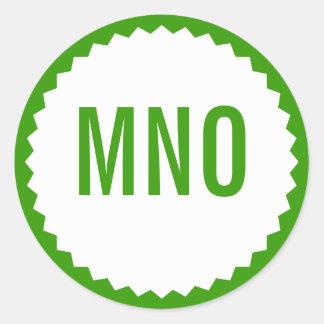 Frontière de zigzag de joint de monogramme, vert sticker rond