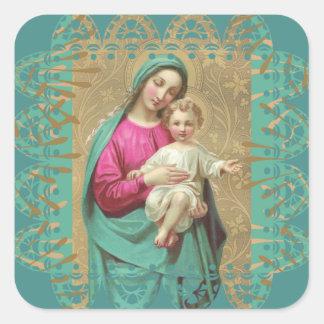 Frontière décorative bénie de dentelle de Jésus de Sticker Carré