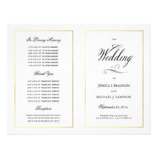 Frontière élégante d'or de programme de mariage de prospectus 21,6 cm x 24,94 cm
