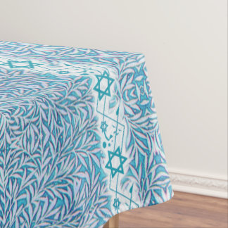 Frontière feuillue bleue et blanche d'étoile de nappe