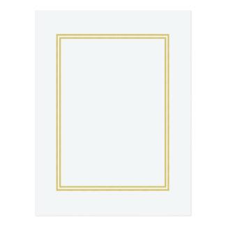 Frontière métallique de double or sur le blanc cartes postales