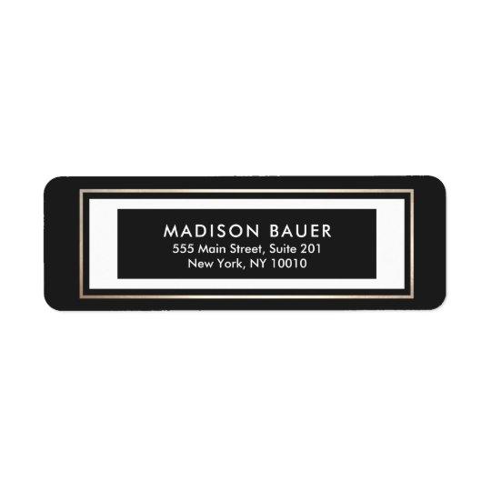Frontière noire moderne d'or blanc étiquettes d'adresse retour