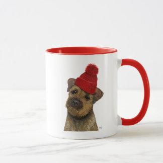 Frontière Terrier avec le casquette rouge 3 de Mug