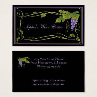 Frontière verte de vignes de feuille de raisins cartes de visite