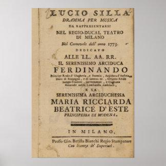 Frontispice Lucio Silla de Mozart de ' Posters