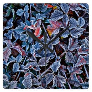 Frost sur le feuille d'automne, Orégon Horloge Carrée