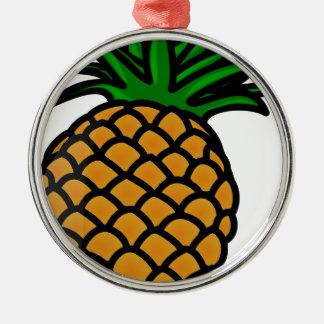Fruit d'ananas ornement rond argenté