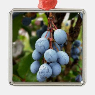 Fruit de prunellier ornement carré argenté