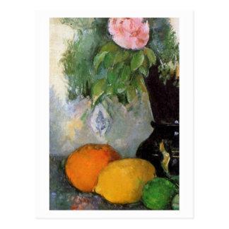 Fruit et fleurs par Paul Cezanne Carte Postale