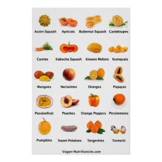 Fruits et légumes oranges posters