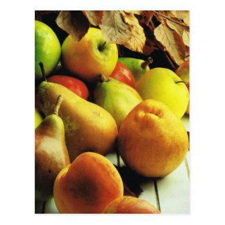 Fruits et légumes, pommes et poires cartes postales