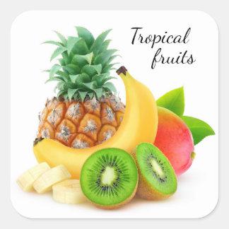 Fruits tropicaux sticker carré