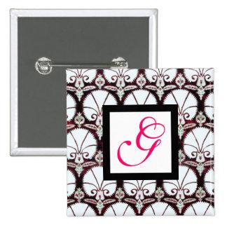 Fuchsia BLANC de rose de MONOGRAMME de DAMASSÉ d'O Badges Avec Agrafe