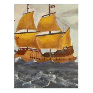 Fuite de bateau de pirate carte postale