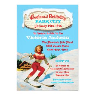 Fuite de week-end de ski avec la goupille vintage carton d'invitation  12,7 cm x 17,78 cm