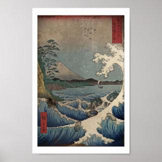 Fuji et la mer de Satta Affiche
