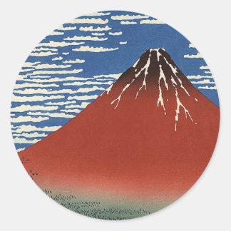 Fuji rouge de Katsushika Hokusai Sticker Rond