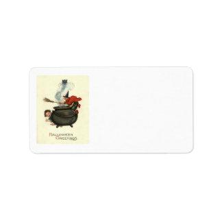 Fumée de chaudron de chat noir de balai de étiquette d'adresse
