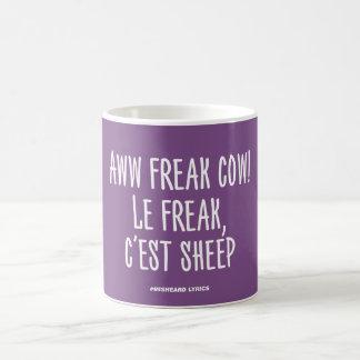Funny typographic misheard song lyrics mug