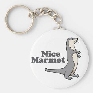 Furet gentil de Marmot Porte-clé Rond