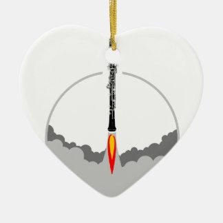 fusée de hautbois ornement cœur en céramique