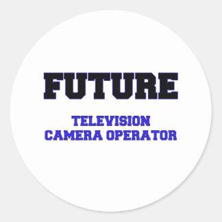 Futur opérateur de caméra de télévision autocollants ronds