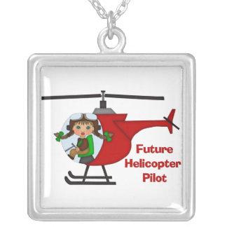 Futur pilote adorable, pilote d'hélicoptère - pendentif carré
