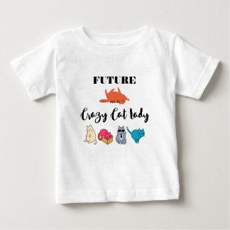 Future Madame folle de chat - illustration T-shirt Pour Bébé