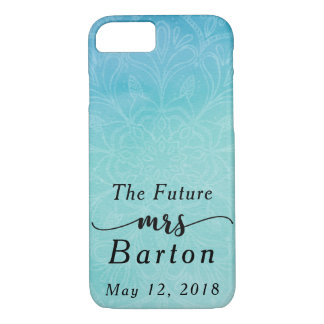 """Future Mme"" typographie Teal et aquarelle bleue Coque iPhone 7"