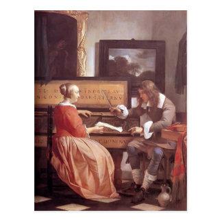 Gabriel Metsu- un homme et une femme assis par vie Cartes Postales